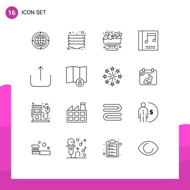 16 User Interface Outline Pack of modern Signs and Symbols of ui, music, plates, media, summer Editable Vector Design Elements