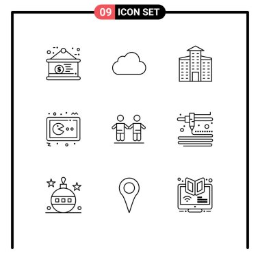 Stock Vector Icon Pack of 9 Line Signs and Symbols for friends, console, building, gamepad, game Editable Vector Design Elements icon