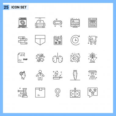 Stock Vector Icon Pack of 25 Line Signs and Symbols for web developers, organization page, glasses, security, seo Editable Vector Design Elements icon