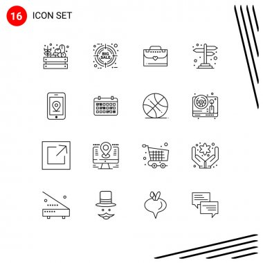 16 Thematic Vector Outlines and Editable Symbols of location, mobile, bag, cross road, navigation Editable Vector Design Elements