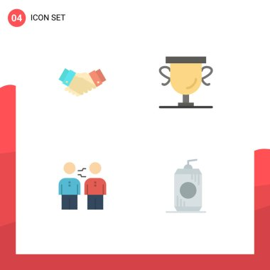 User Interface Pack of 4 Basic Flat Icons of agreement, partnership, business, award, business Editable Vector Design Elements icon