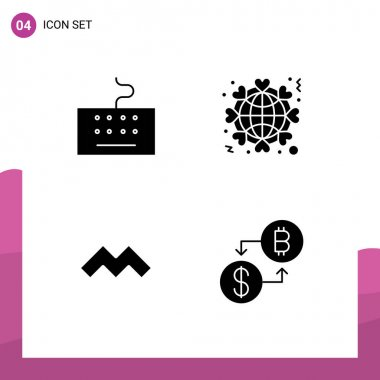 Stock Vector Icon Pack of 4 Line Signs and Symbols for hardware, crypto currency, globe, love, currency Editable Vector Design Elements