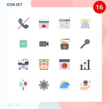 Set of 16 Modern UI Icons Symbols Signs for ok, battery, equalizer, solar, battery Editable Pack of Creative Vector Design Elements icon