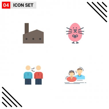 Set of 4 Commercial Flat Icons pack for factory, partnership, industry, easter, business Editable Vector Design Elements icon