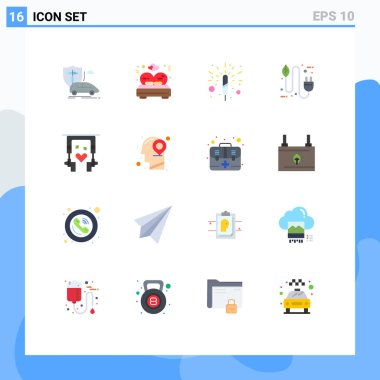 16 Creative Icons Modern Signs and Symbols of ear buds, electricity, wedding, eco, bio Editable Pack of Creative Vector Design Elements icon