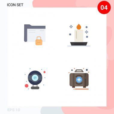 Set of 4 Commercial Flat Icons pack for data, night, protection, candlelight, hardware Editable Vector Design Elements icon
