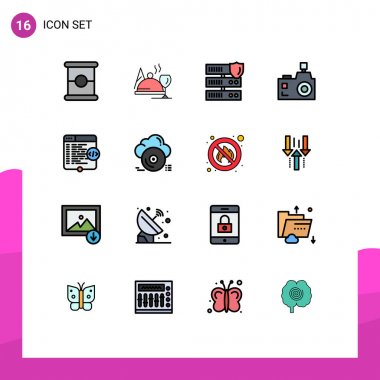 Stock Vector Icon Pack of 16 Line Signs and Symbols for html, photography, network, photographer, flash camera Editable Creative Vector Design Elements icon