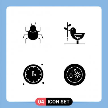 Stock Vector Icon Pack of 4 Line Signs and Symbols for bug, clock, indian, friendship, time keeper Editable Vector Design Elements icon