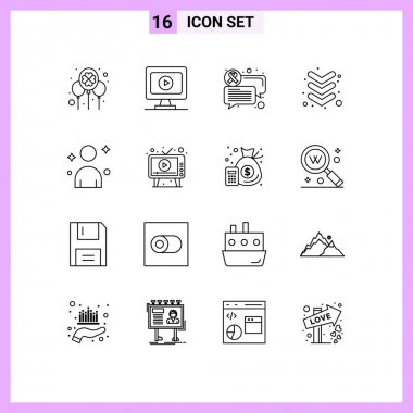 Stock Vector Icon Pack of 16 Line Signs and Symbols for ad, man, chat, male, down Editable Vector Design Elements