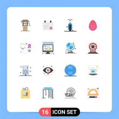 Universal Icon Symbols Group of 16 Modern Flat Colors of health, easter, bike, decoration, vehicles Editable Pack of Creative Vector Design Elements icon