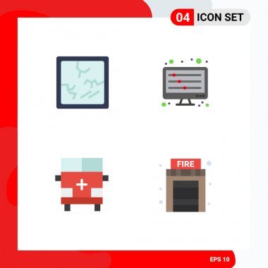 Editable Vector Line Pack of 4 Simple Flat Icons of broken, outline, equalizer, waves, vehicles Editable Vector Design Elements icon