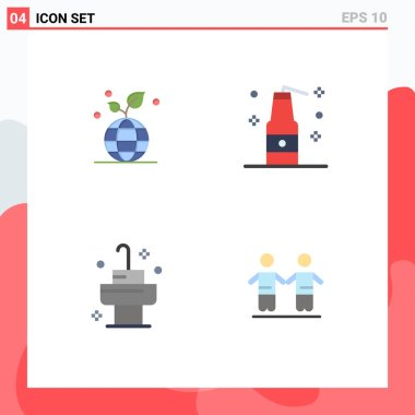 4 User Interface Flat Icon Pack of modern Signs and Symbols of growth, bath, globe, terrorism, best Editable Vector Design Elements icon