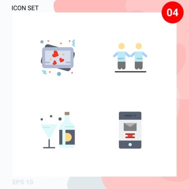 User Interface Pack of 4 Basic Flat Icons of love, american, best, group, glass Editable Vector Design Elements icon
