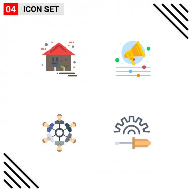 Editable Vector Line Pack of 4 Simple Flat Icons of eco, friends, home, campaign, games Editable Vector Design Elements icon