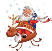 Santa Klaus na koni jelen