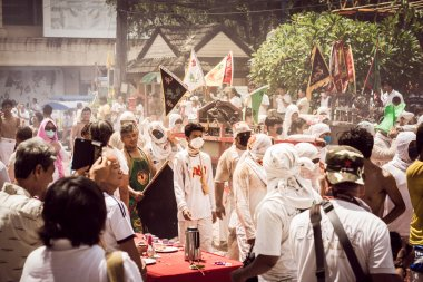 PHUKET- OCT 07 : Taoism participants in a street procession of t