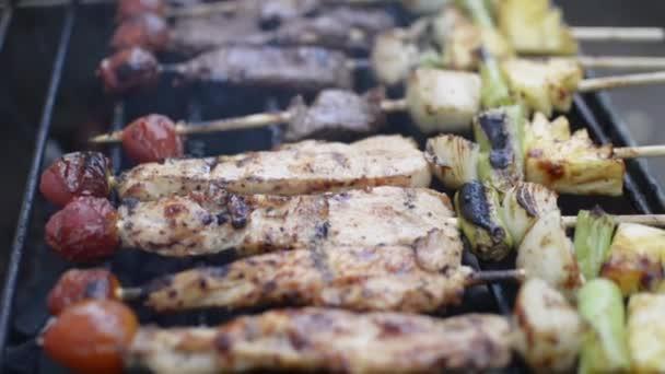 Kuřecí a hovězí maso se smaží na grilu na dřevěném uhlí. Smažené kousky masa během pikniku.