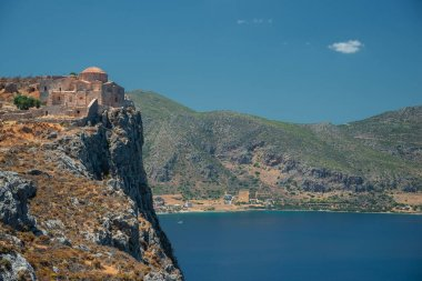 The Church of Agia Sophia on top of the plateau, with the sea in the Background in Monemvasia, Greece.