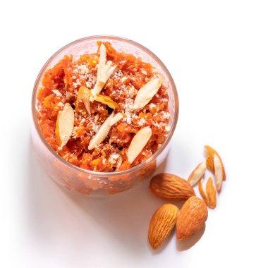 Carrot halwa or Gajar ka halwa delicious indian dessert, top vie