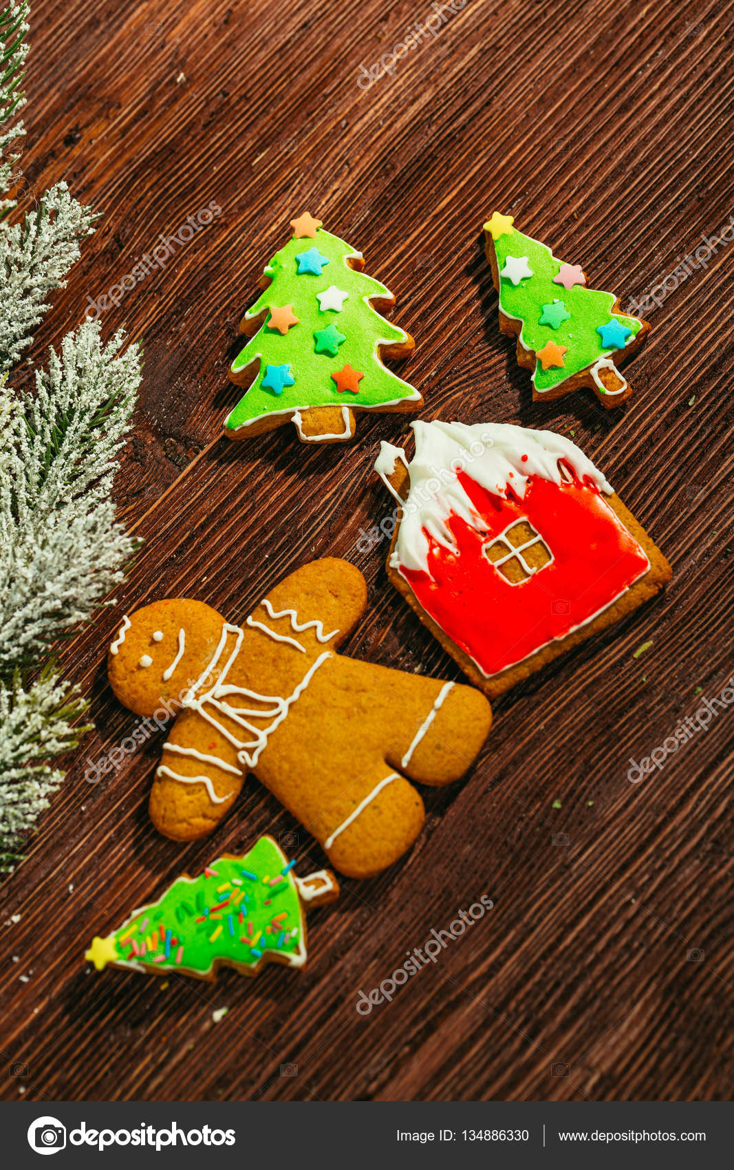 Painted Gingerbread House Christmas Tree And The Man On A Wooden