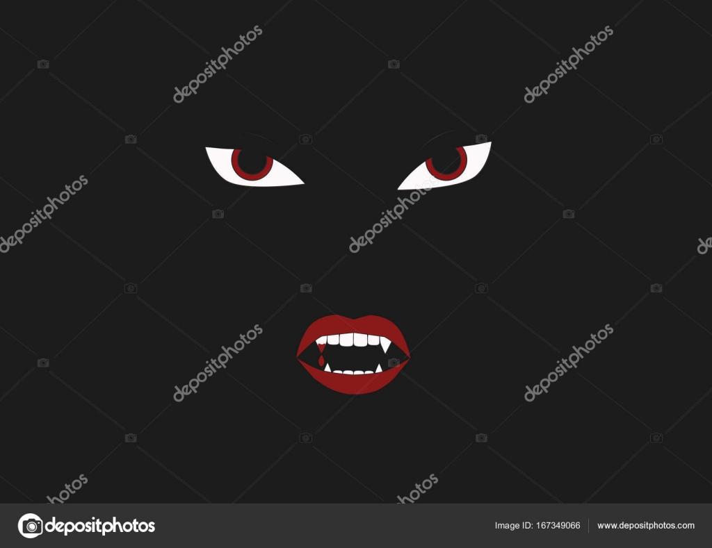 Augen Und Zähne Vampir Auf Schwarzem Hintergrund Stockvektor