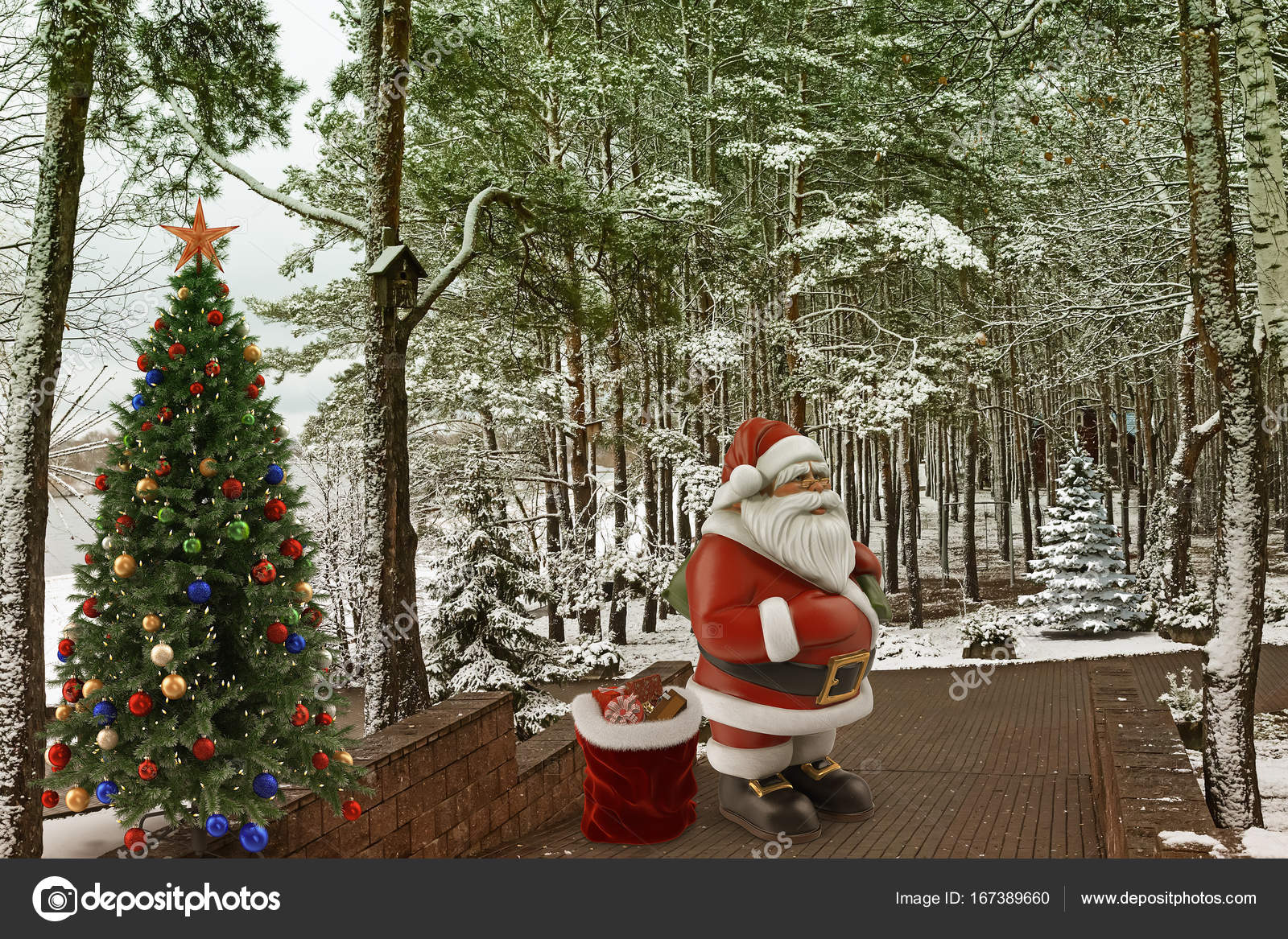 Christmas story: Santa Claus with gifts near the Christmas tree. 3 ...