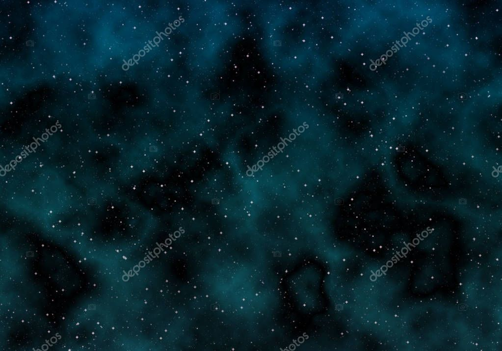 On dark sky background transparent clouds and bright stars.