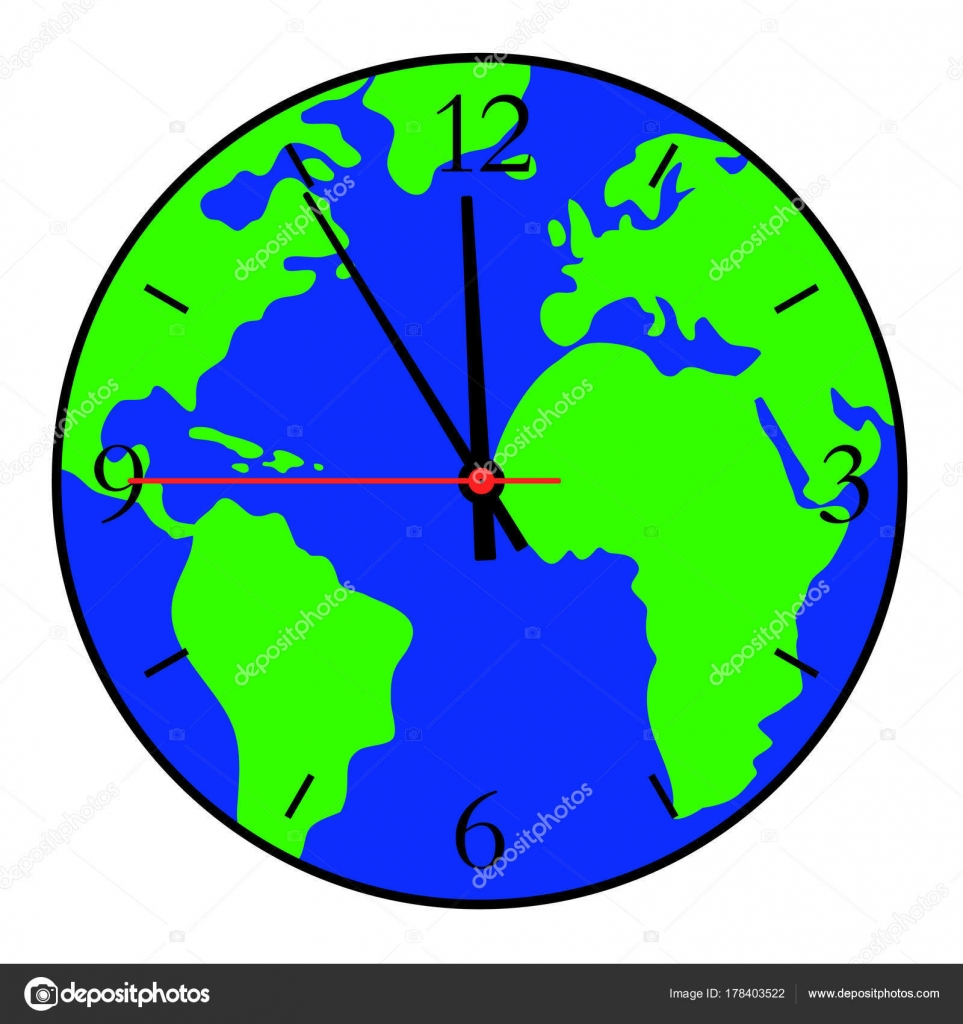 A clock with a world map on the dial stock vector sergey89rus a clock with a world map on the dial vector illustration vector by sergey89rus gumiabroncs Gallery