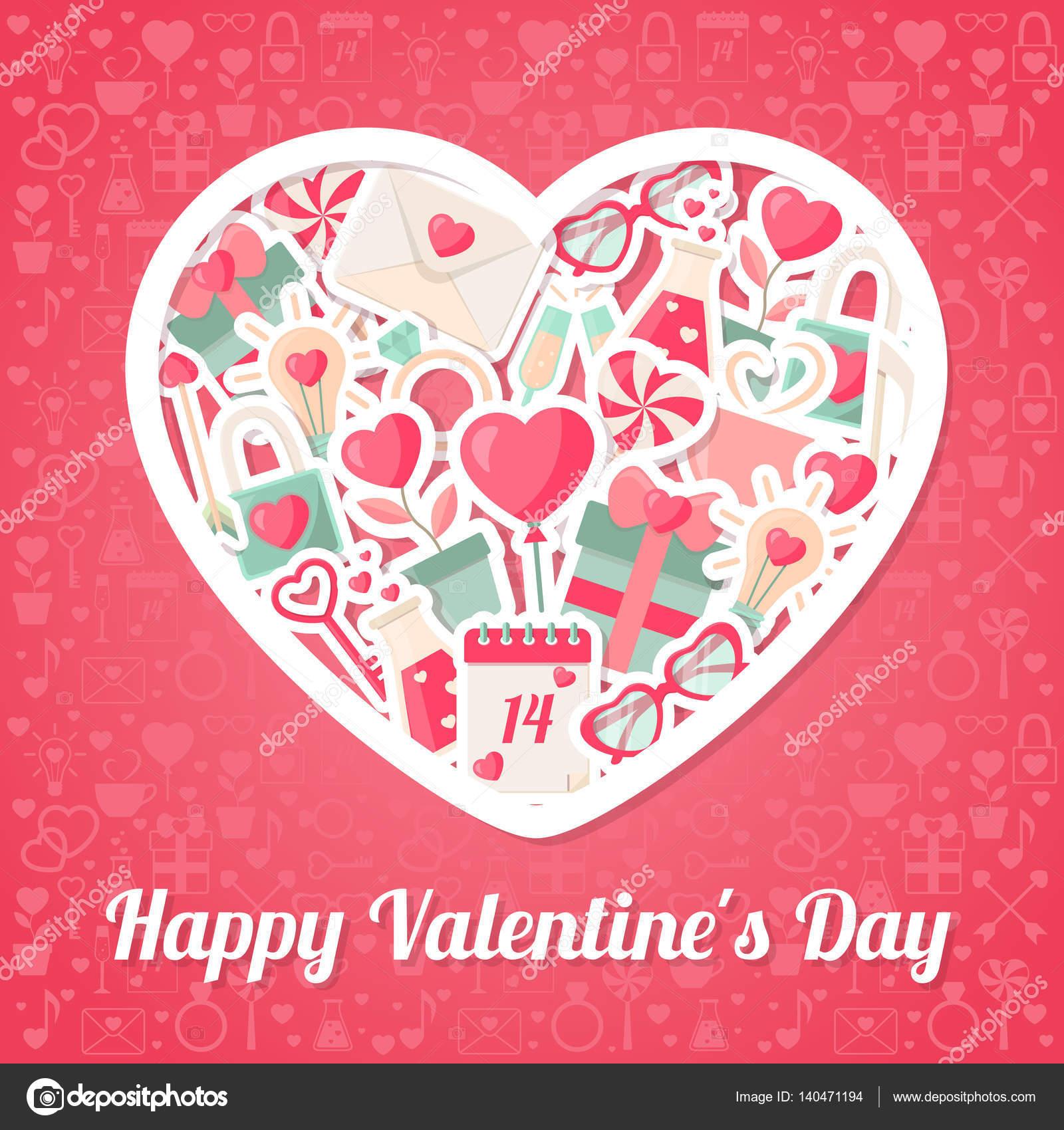 Día de San Valentín fondo con los iconos planos y el marco de la ...