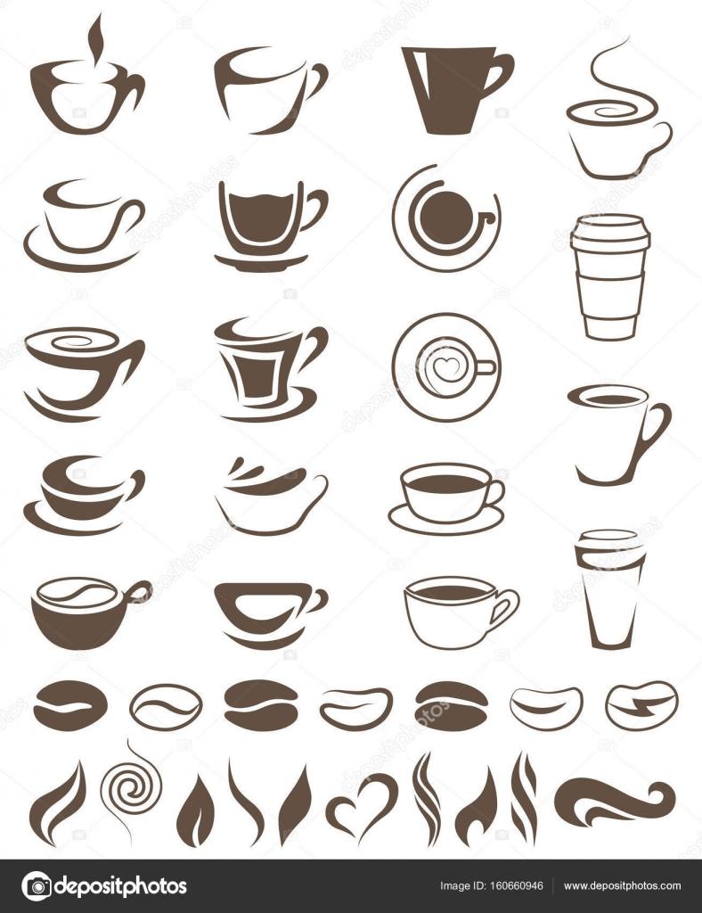 Tazas de café, habas y vapor formas plantilla de logotipos — Vector ...