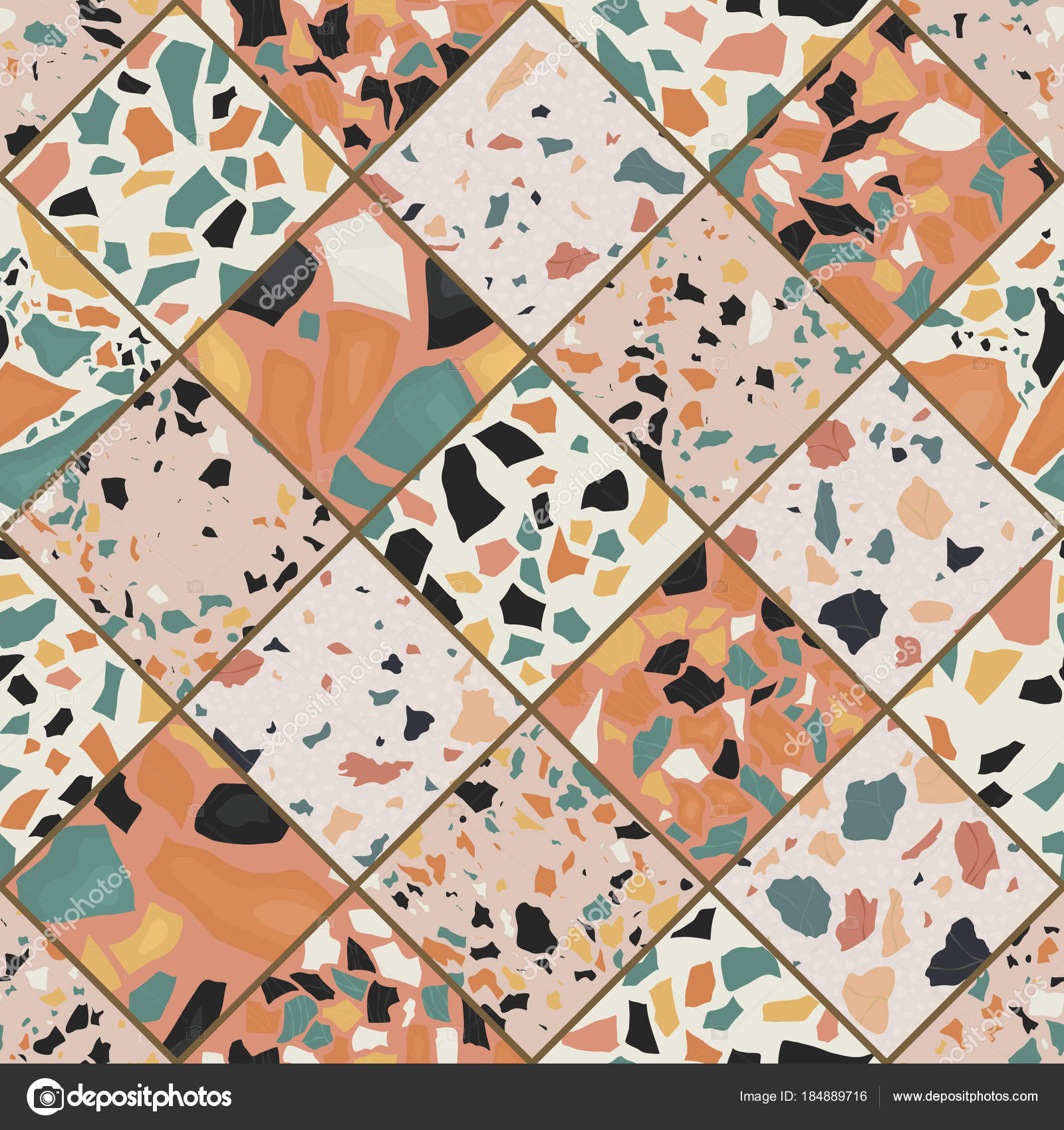 Seamless Terrazzo Pattern Hand Crafted And Unique Repeating Background Granite Textured Shapes In