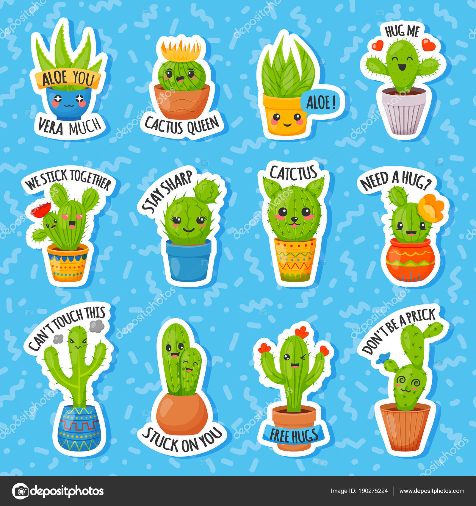 Set Of Cute Cartoon Cactus And Succulents With Funny Faces In Pots Cute Cartoon Cactus Stickers With Text Pin Badge Sticker Collection Vector Image By C Barmaleeva Vector Stock 190275224