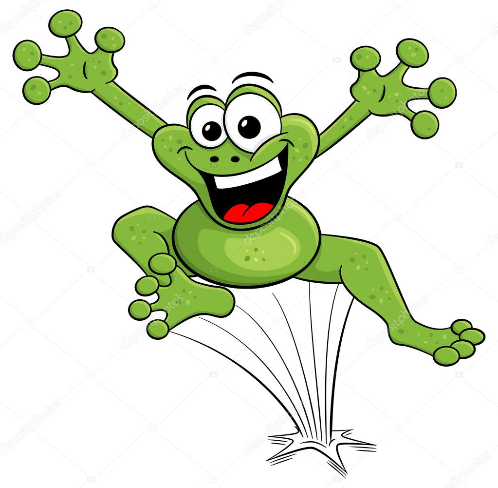 Jumping cartoon frog isolated on white stock vector - Frog cartoon wallpaper ...
