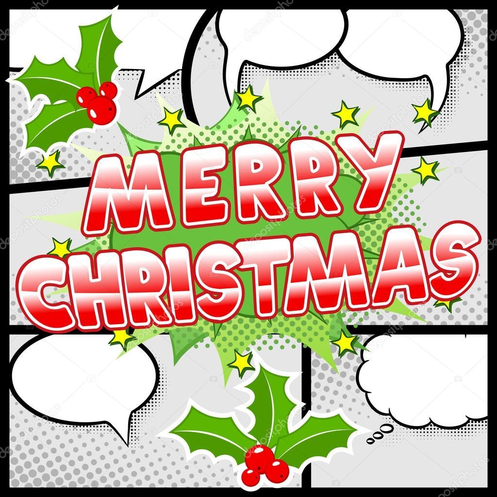 Bilder Comic Weihnachten.Frohe Weihnachten Comic Speech Bubble In Comic Bilder Stockvektor