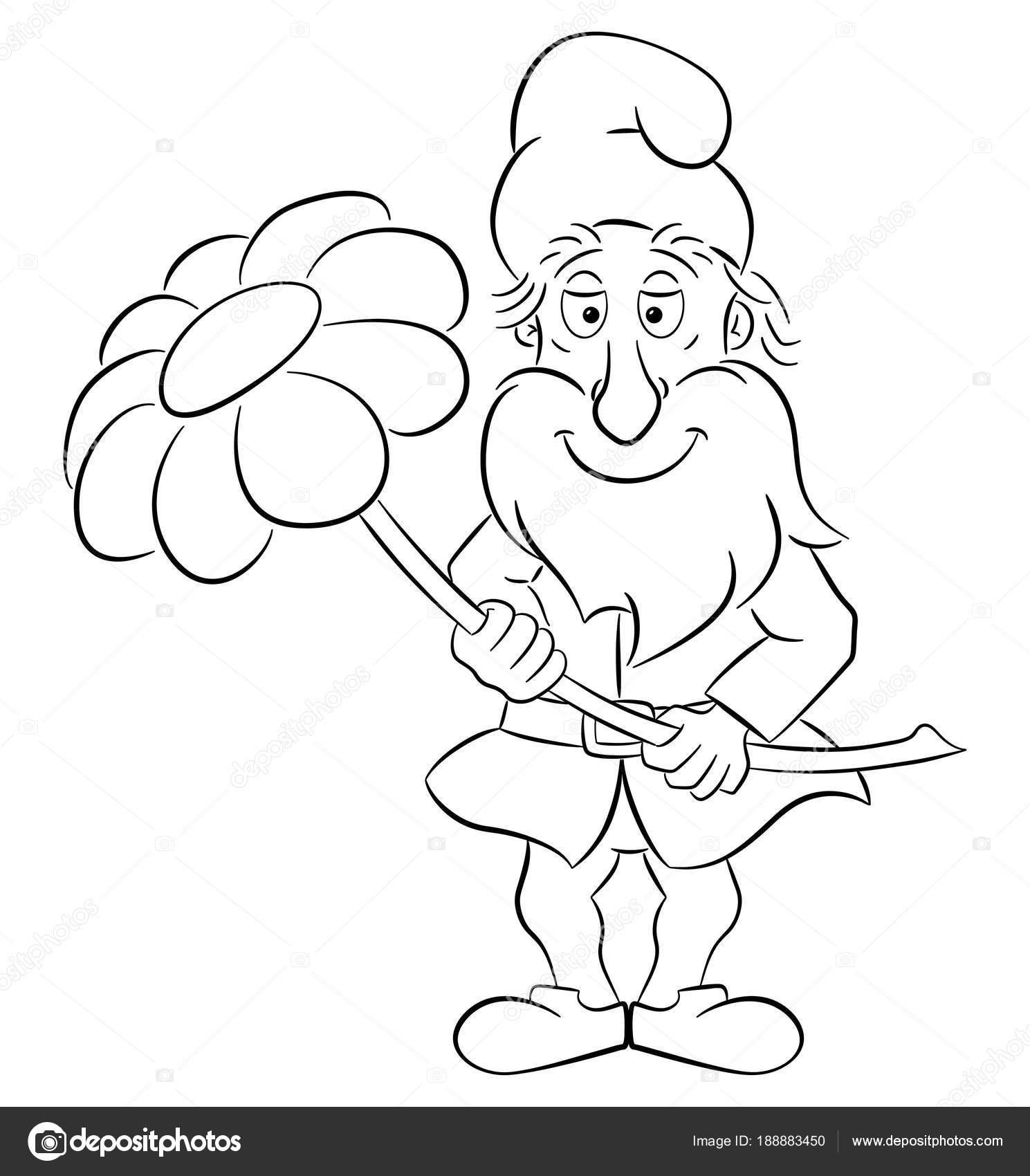 nain de jardin de dessin animé tenant une fleur unique dans ses ...