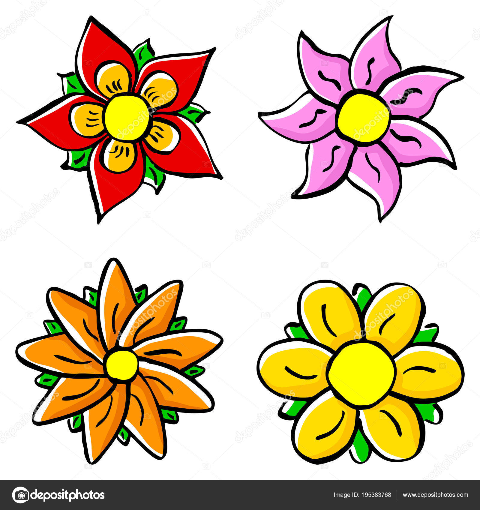 Colorful Cartoon Flowers Stock Vector C Antimartina 195383768