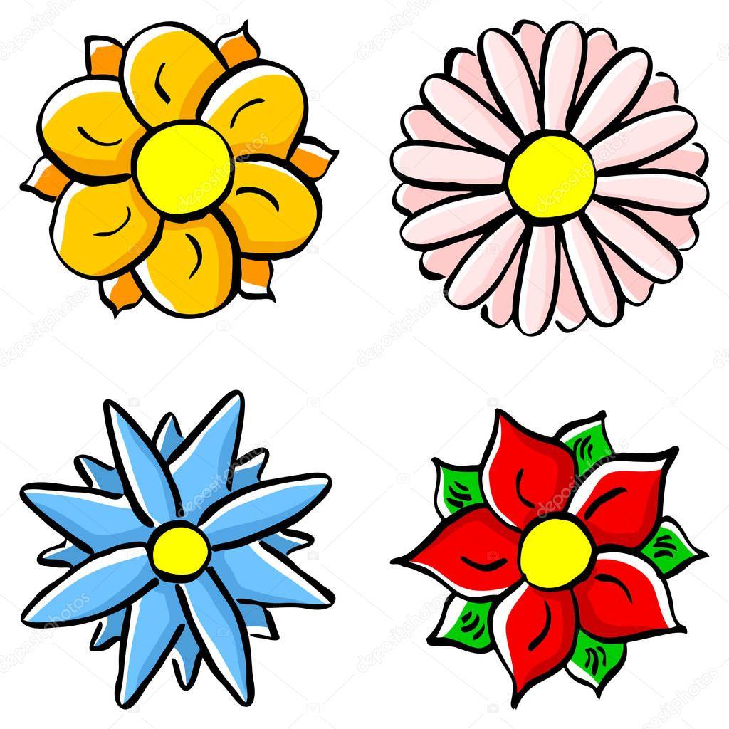 fleurs colorées de dessin animé — Image vectorielle antimartina © #195383968