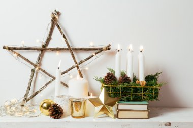 Golden Christmas decoration at home