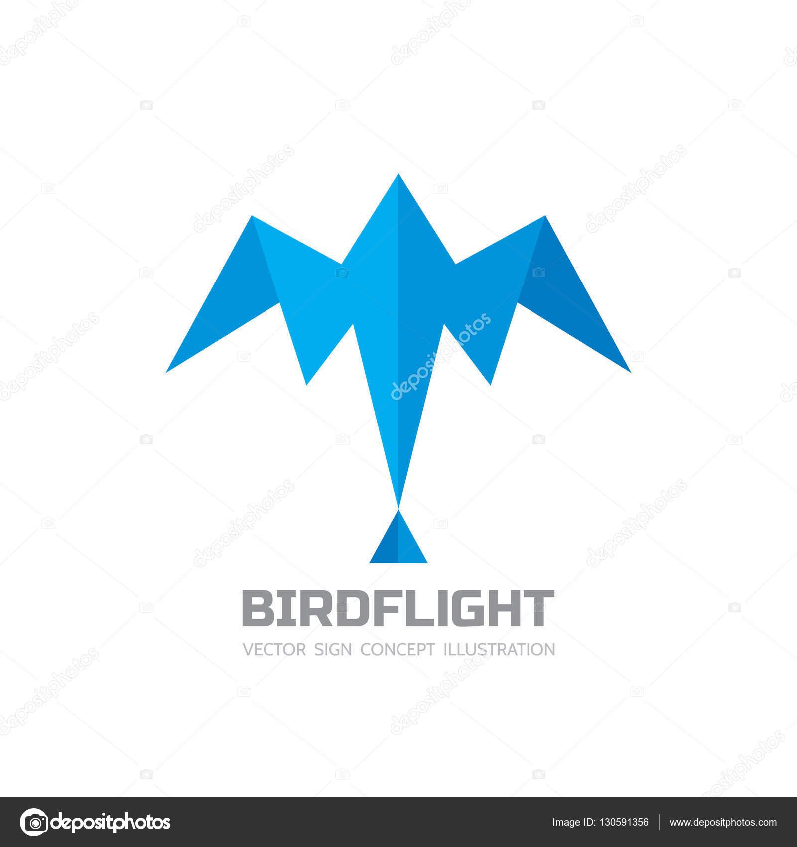 Lotu Ptaka Wektor Logo Szablon Ilustracja Kreatywnych Origami