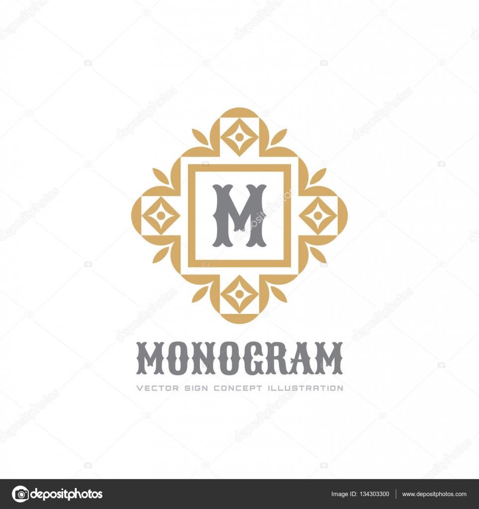 Monograma - vector logo plantilla concepto ilustración. Resumen ...