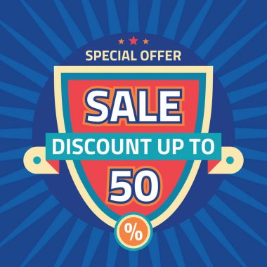 Sale - discount up to 50% - abstract vector template concept illustration. Special offer layout badge. Design element.