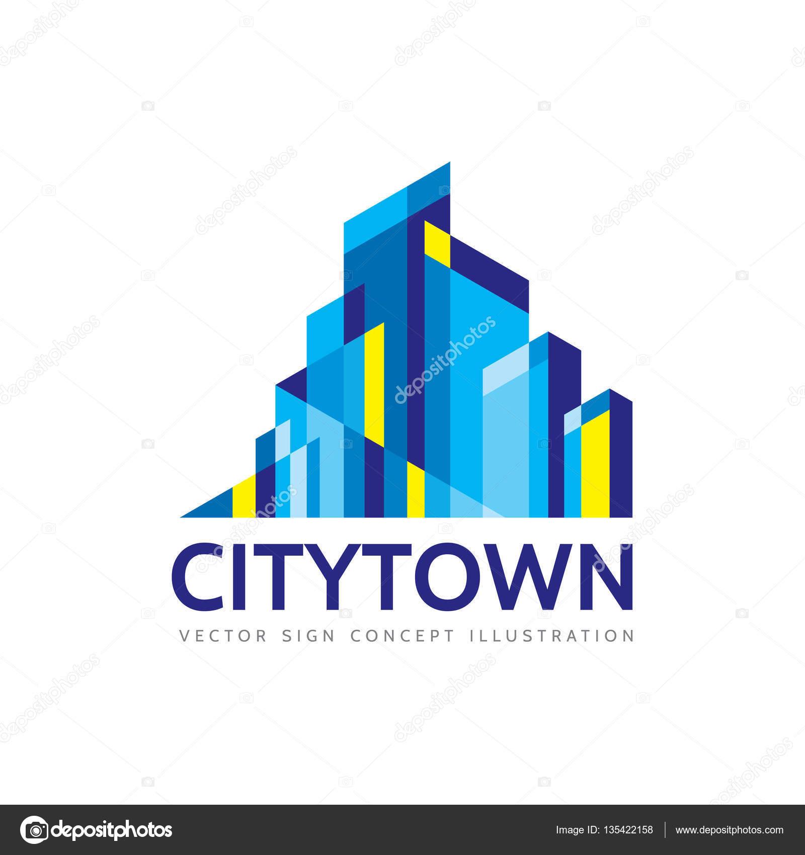 Stadt Immobilien Logo Vorlage Konzept Abbildung Zusammenfassung