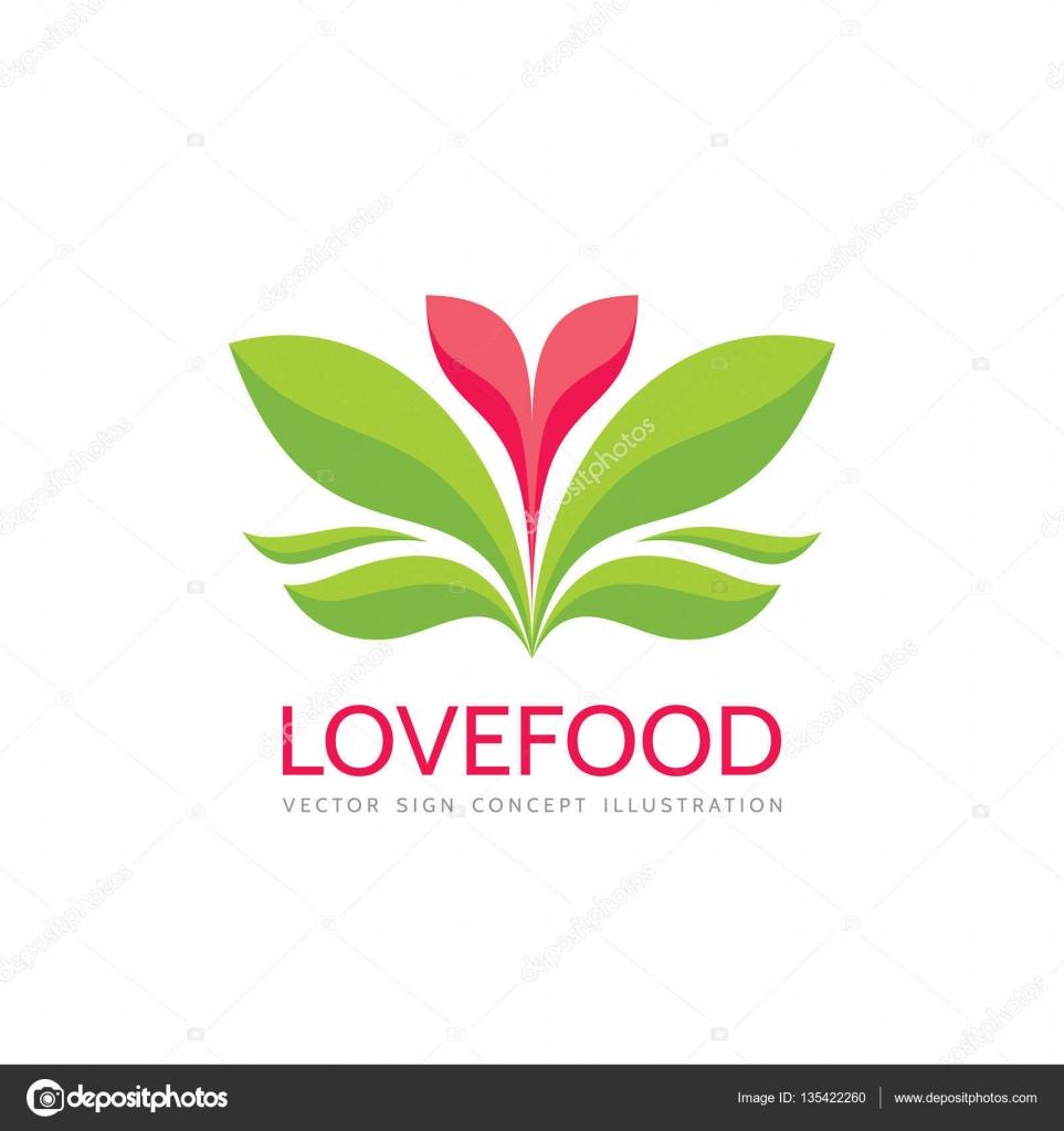 Alimentos - ilustración de vector logo plantilla concepto de amor ...