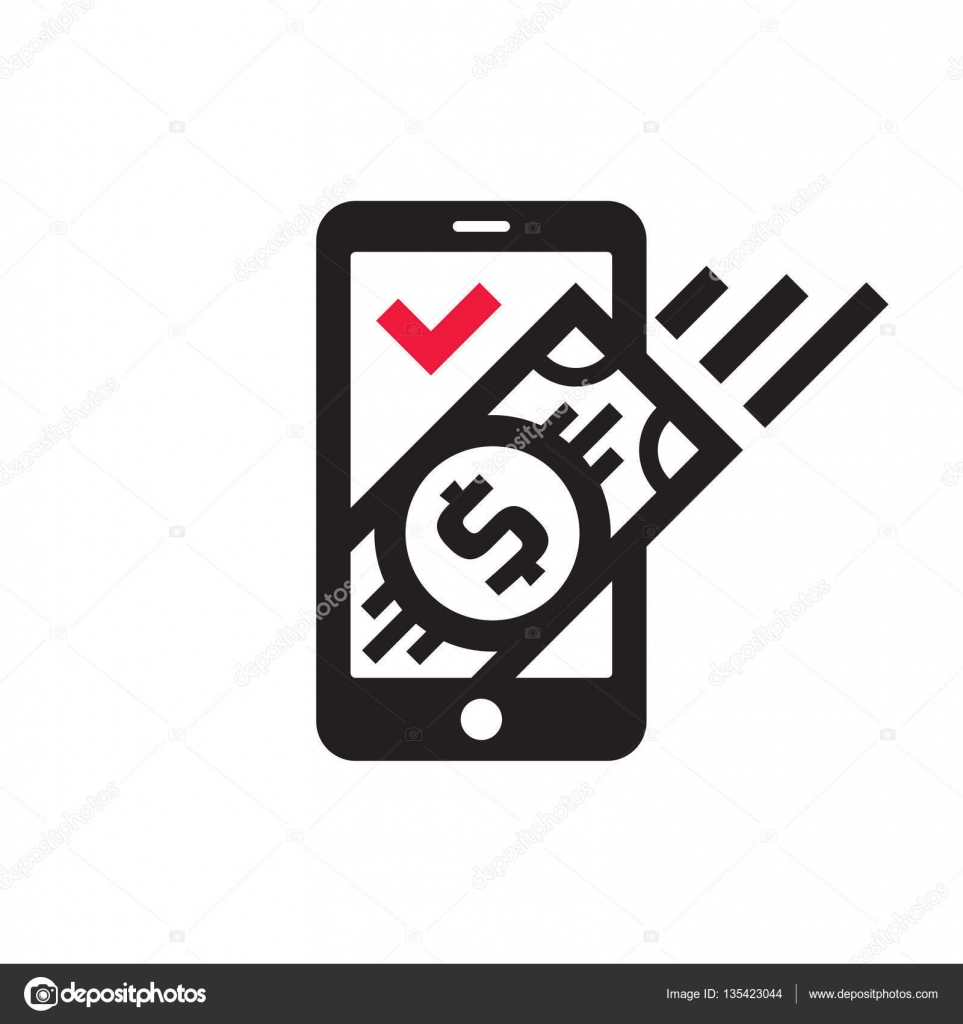 Mobile phone payment icon in flat style. Digital money dollar ...