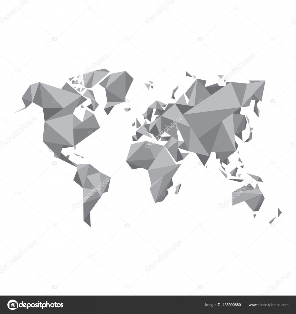 Abstract world map vector illustration geometric structure in abstract world map vector illustration geometric structure in gray color for presentation booklet website and other design projects gumiabroncs Gallery