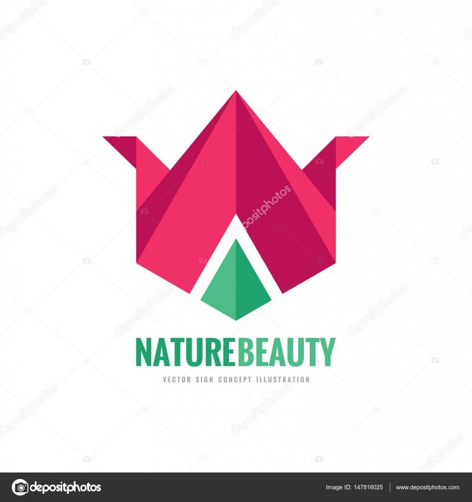 Nature beauty vector logo template concept illustration in flat nature beauty vector logo template concept illustration in flat and origami style abstract tulip sign geometric flower creative symbol design element jeuxipadfo Gallery