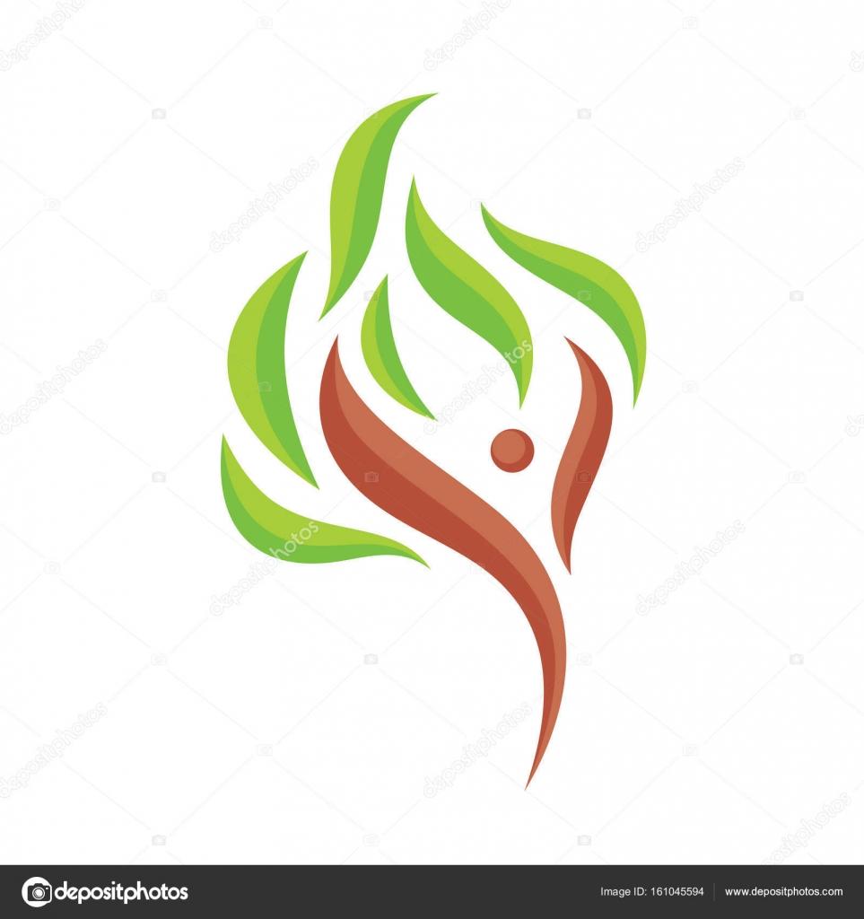 Carácter humano abstracto con hojas de color verde - vector logo ...