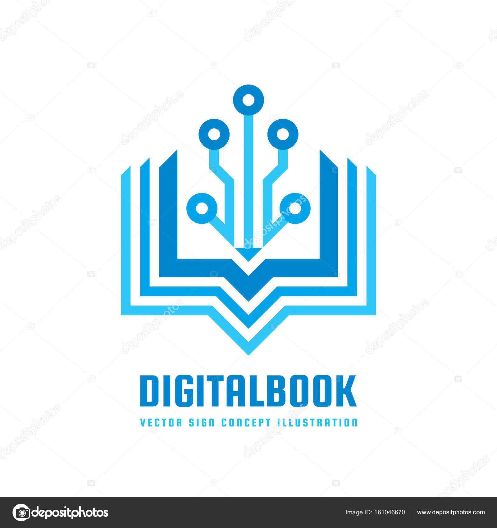 Digital Book Vector Logo Template Concept Illustration