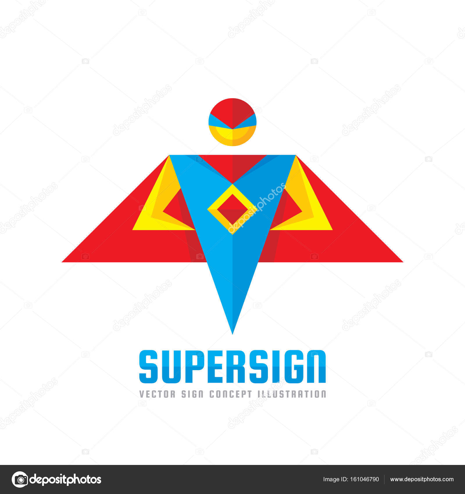 super sign vector logo template concept in flat style people