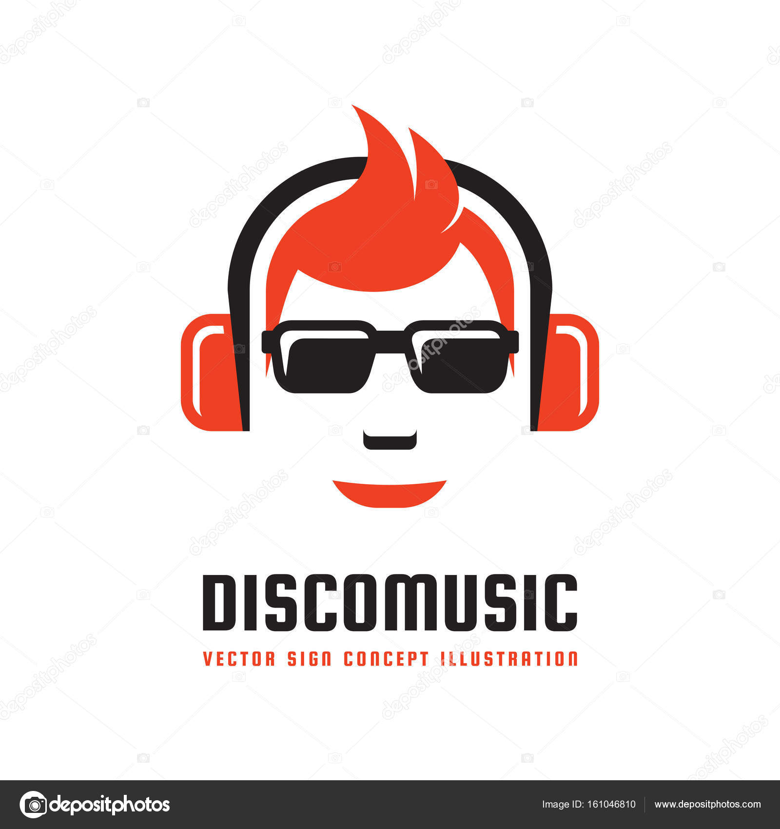 Disco music - vector logo template concept illustration in flat ...